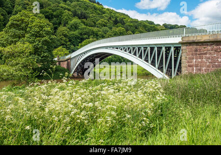 Bigsweir Bridge River Wye Monmouthshire, on the border between England and Wales and photographed from the Gloucestershire - Stock Photo