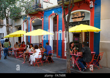 Mexican bar, Gracia, Barcelona, Spain, Europe - Stock Photo