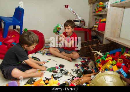 Two Children Playing With Lego Stock Photo Royalty Free