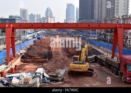 Digging in the cityscape - Metro under construction in Hefei, China - Stock Photo