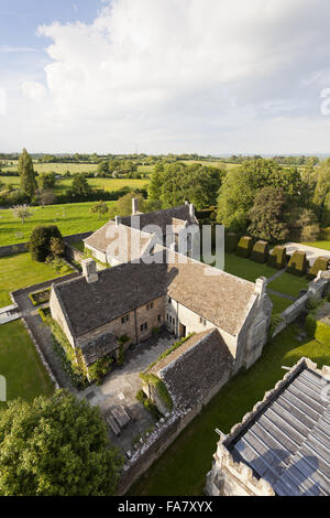 A view from the top of Westwood church showing Westwood Manor and some of the surrounding countryside, Wiltshire. - Stock Photo