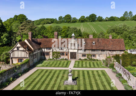 The cottages taken from the tower at Ightham Mote, Kent - Stock Photo
