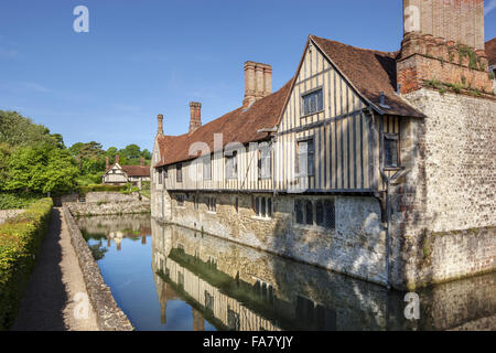 The east front with the cottages in the background at Ightham Mote, Kent - Stock Photo