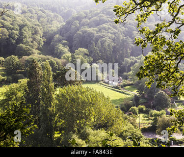 View south in September from Dunster Castle, Somerset. - Stock Photo