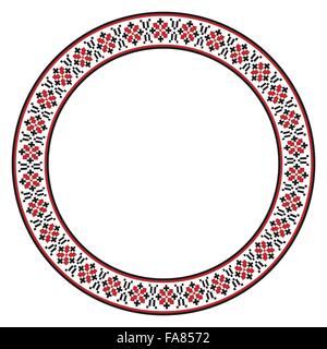 Vector illustration of traditional Slavic round embroidered pattern - Stock Photo