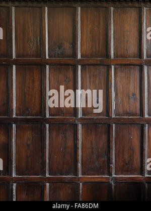 Wood panelling in the Servery at Ham House, Surrey. - Stock Photo