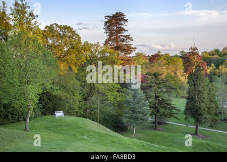 View from top of the grass Amphitheatre at Claremont Landscape Garden, Surrey. - Stock Photo