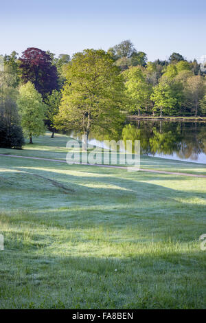 View from top of the grass Amphitheatre at Claremont Landscape Garden, Surrey. The Amphitheatre was created around - Stock Photo