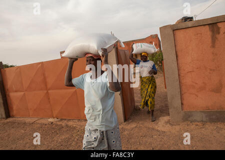Women carry sacks of rice from a warehouse at a women's group processing center in Sourou Province, Burkina Faso. - Stock Photo