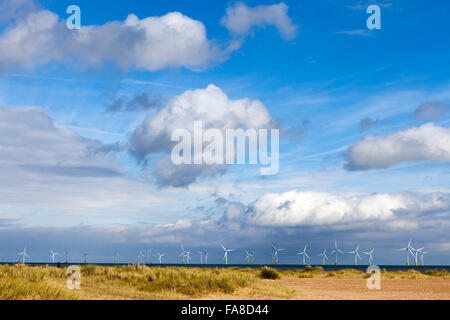 wind turbines on the Scroby Sands Wind Farm off Great Yarmouth, Norfolk, England, - Stock Photo