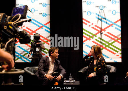 Nick Clegg radio interview  BBC Radio 5 Live Octoberfest in Sheffield  Friday 12/10/12 - Stock Photo