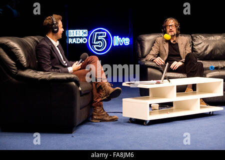 BBC Radio 5 Live Octoberfest in Sheffield Thursday 11/10/12 Richard Bacon and Jarvis Cocker - Stock Photo
