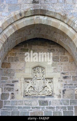 The coat of arms above the main entrance at Chirk Castle, Wrexham. - Stock Photo