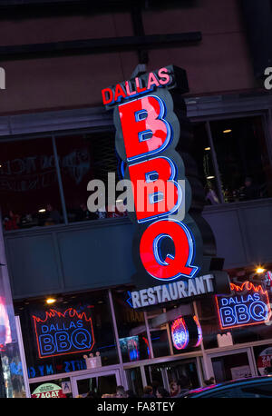 Dallas BBQ Restaurant Lighted Sign, Times Square, NYC - Stock Photo