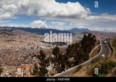 View of the city of La Paz from above, Bolivia - Stock Photo