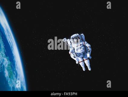 CG astronaut in space - Stock Photo