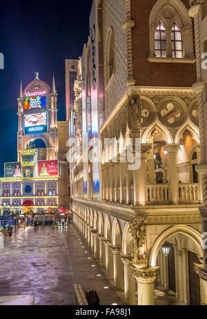 The interior of the Venetian hotel & Casino in Las Vegas - Stock Photo