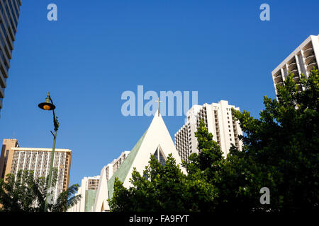 St. Augustine by the sea Catholic Church, Waikiki, Oahu, Hawaii. - Stock Photo