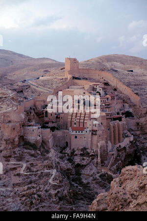 View of the Greek Orthodox monastery of Saint Sabbas the Sanctified known in Arabic as Mar Saba in the Judaean or - Stock Photo