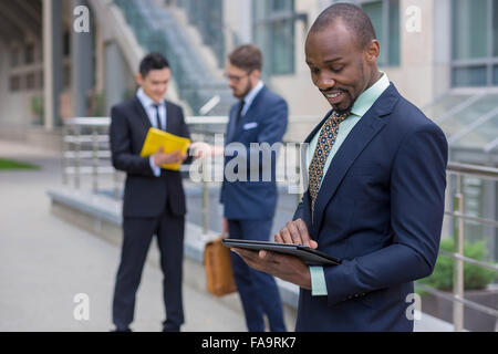 The business black man with laptop - Stock Photo