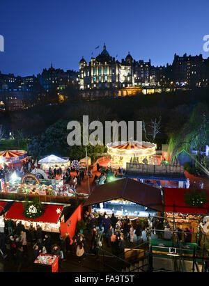 Edinburgh's famous European Christmas Market - Stock Photo