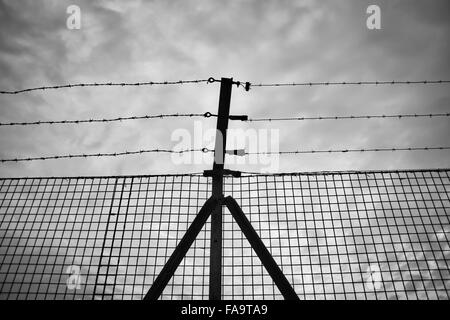 Prison. Barbed wire fence. Black and white Stock Photo: 102981449 ...