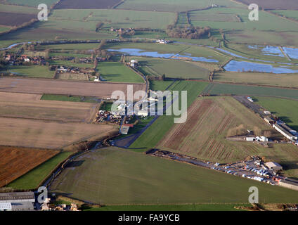 aerial view of Breighton Airfield near Selby, North Yorkshire, UK - Stock Photo