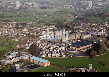 aerial view of Blackdyke Mills at Queensbury, Bradford, West Yorkshire, UK - Stock Photo