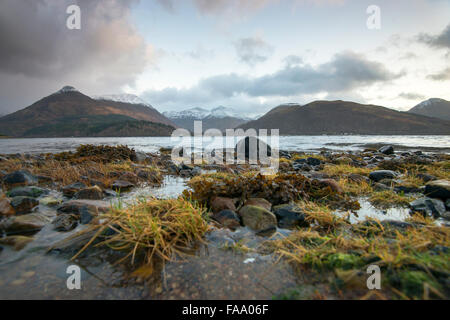 The beach at Loch Leven in North Ballachulish in Scotland, UK - Stock Photo