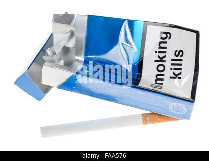 Cigarette packet with Smoking Kills but with manufacturer logo digitally removed - Stock Photo