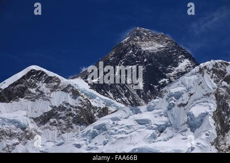Peak of Mt Everest, view from Kala Patthar - Stock Photo