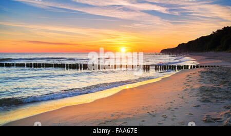 Baltic Sea landscape at sunset, Pomerania, Poland - Stock Photo