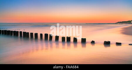 The Baltic sea after sunset, Pomerania, Poland - Stock Photo