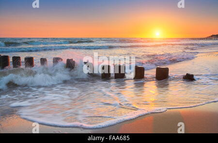 Baltic Sea at sunset, Pomerania, Poland - Stock Photo