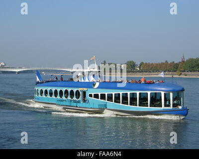 ship with tourists on the river Rhine near Bonn, Germany - Stock Photo