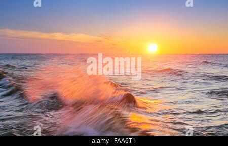 Sunset at Baltic Sea, Pomerania, Poland - Stock Photo