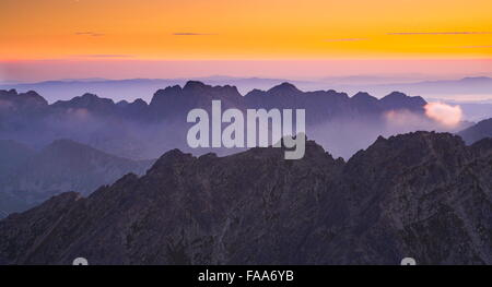 View at surise from Krywan peak, Slovakia - Stock Photo