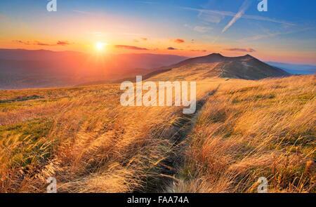 Sunset at Bieszczady Mountains, Poland - Stock Photo