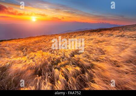 The sunset in Bieszczady Mountains, Poland - Stock Photo