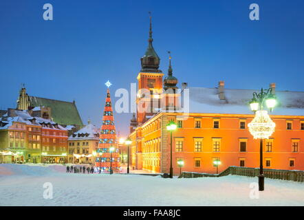 Christmas tree outdoor on the Castle Square, Warsaw City, Poland - Stock Photo