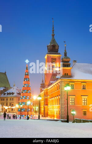 Christmas tree outdoors, Castle Square, Warsaw Capital City, Poland - Stock Photo