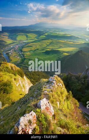 View from Trzy Korony Peak, Pieniny Mountains, Poland - Stock Photo
