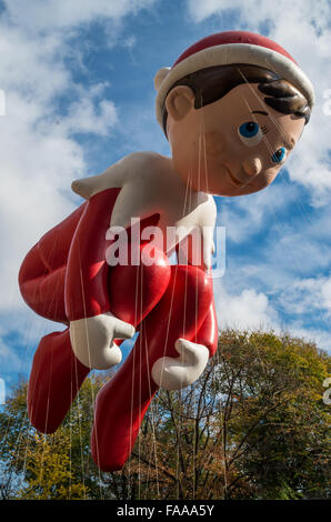 Elf On The Shelf balloon from the Macy's Thanksgiving Day Parade in 2015 - Stock Photo