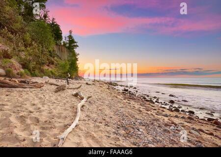 Orlowski Cliff, Baltic Sea at sunset, Gdynia, Pomerania, Poland - Stock Photo