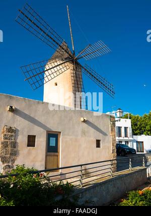 Historic windmill of Es Jonquet, Santa Catalina, Palma de Majorca, Majorca, Balearic Islands, Spain - Stock Photo