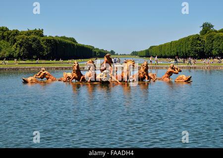 Apollo fountain with Apollo in the sun chariot, castle gardens, Palace of Versailles, UNESCO World Heritage Site, - Stock Photo