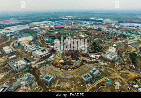 Shanghai. 9th Oct, 2015. An aerial photo taken on Oct. 9, 2015 shows the Disney Park in Shanghai, east China. © - Stock Photo