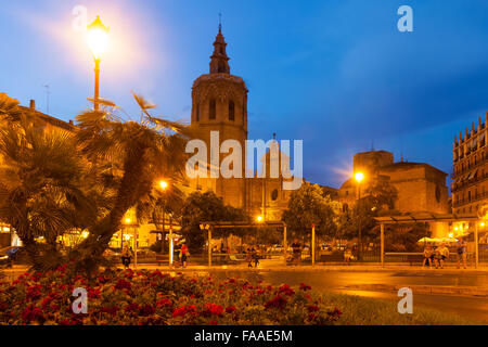 Night view of Micalet tower and Cathedral at Plaza de la Reina. Valencia, Spain - Stock Photo