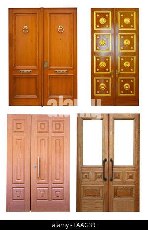 Set of wooden double doors. Isolated on white background - Stock Photo