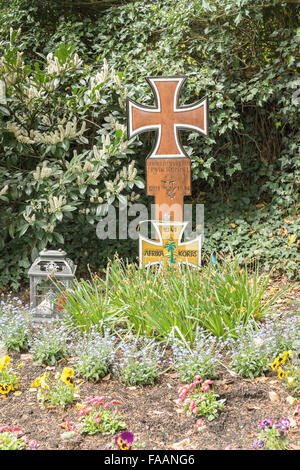 graveside of world war II field marshal erwin rommel, herrlingen,  baden-württemberg, germany - Stock Photo